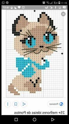 Punto cruz Cat Cross Stitches, Cross Stitch Samplers, Cross Stitch Embroidery, Cross Stitch Patterns, Diy Finger Knitting, Crochet Frog, Diy Broderie, Pixel Crochet, Hello Kitty Wallpaper