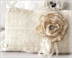 Pillow created from vintage linens and lace ~ handmade tattered muslin  rose on the front