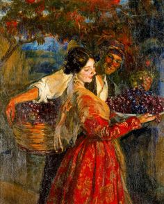 """Picking Grapes"" by José Mongrell Torrent 💠 Born: 3 August 1870 in Valencia, Spain — Died: 5 November 1937 in Barcelona, Spain Spanish Painters, Spanish Artists, Romantic Paintings, Beautiful Paintings, Visual Texture, Impressionist Paintings, Victorian Art, Art Themes, Couple Art"