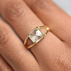 2.4 carat yellow rose cut diamond set in my Stella double band setting. So unique! Available as a size 6 with options for resizing. Contact me for more info on this beauty. #rosecutdiamond #rosecutdiamondring #engagementring #yellowdiamond #yellowdiamondring #seattlemade #madeinseattle #seattlewedding #artisanjewelry #uniqueengagementring #splitshank #blackownedbusiness #blackjewelrydesigner #seattlejewelrydesigner