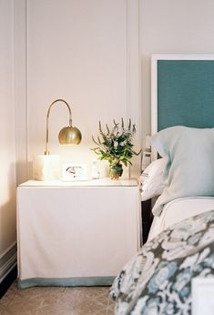 Skirted bedside table / glass top .