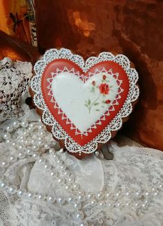 Red & white heart to heart, lace, hand-painted rose, by Teri Pringle Wood