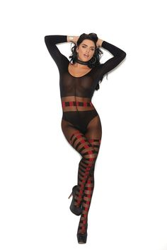 Sheer and opaque long sleeve bodystocking with horizontal stripes and open crotch. Sheer and opaque long sleeve bodystocking with horizontal stripes and open crotch. Opaque Stockings, Soft Eyes, Black Lingerie, Thighs, Stripes, Wonder Woman, Elegant, Long Sleeve, Sleeves