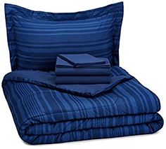 AmazonBasics 5-Piece Bed-In-A-Bag - Twin/Twin XL, Royal Blue Calvin Stripe -   - http://homesegment.com/home-kitchen/amazonbasics-5piece-bedinabag-twintwin-xl-royal-blue-calvin-stripe-com/
