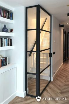 Black Steel Doors With Glass – The Marble Home Interior Stairs, Interior Architecture, Internal Sliding Doors, Style Deco, New Home Builders, Modern Staircase, White Doors, Steel Doors, Glass Door
