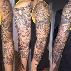 Stairway to heaven tattoo taube tattoo wolke tattoo auge tattoo anker tattoo familie - Brenda O. Stairway to heaven tattoo taube tattoo wolke tattoo auge tattoo anker tattoo familie - Half Sleeve Tattoos For Guys, Best Sleeve Tattoos, Tattoo Sleeve Designs, Female Tattoo Sleeve, Anker Tattoo, Stairway To Heaven Tattoo, Cloud Tattoo Sleeve, Tattoo Sleeves, Family Sleeve Tattoo