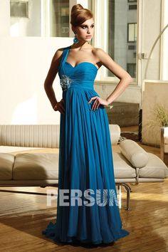Robe de bal plissée bleue royale à seule épaule à A-ligne avec applique - Persun.fr