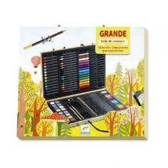 #Djeco Big Box of Colours Art Kit - A big box of pencils, felt tips, crayons, pastels, watercolour paints and more. It all comes in a sturdy box with a design on to colour in! Contains 18 colouring pencils, 16 felt tip pens, 18 wax crayons, 14 pastels, 8 watercolour paint blocks, 2 paintbrushes, 2 drawing pencils, 1 pencil sharpener and 1 eraser. #art #drawing #colouring