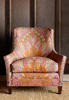 Cambay Paisley print, in Sandalwood, Schumacher fabric. Chair is pretty great too. Decor, Furniture, Home Furniture, Upholstered Furniture, Chair, Home Decor, Armchair, Upholstery, Upholstered Chairs