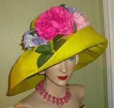 SALE Designer Custom HAT Raffia Pinks Greens by Pinkvintagerose