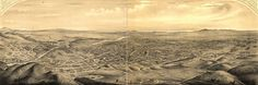 """in late 1876 or early 1877,artist Eli Sheldon Glover from Mount Lookout drew L.A.'s earliest birdseye city views. The Daily Star """"The drawing was executed from a point which presents a beautiful view of Los Angeles proper and the delightful and growing suburbs of East and West Los Angeles [present-day Lincoln Heights and University Park, respectively]. Looking south from the hill north of town, with the ocean and intervening objects in clear prospective """""""