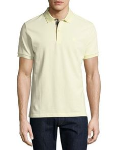 BURBERRY Short-Sleeve Oxford Polo Shirt, Yellow. #burberry #cloth #