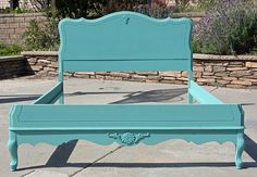 Possible guest bedroom bed color.....Vintage Chic Double Full  Bed Headboard and by FooFooLaLaChild, $450.00