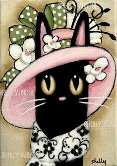 Hand Painted Original Art Black Cat Lady in a by ShellyMundelArt, $45.00