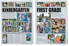grade pages- photos above headlines A little too much wording for my taste but I like the general idea Lifetouch Yearbook, Elementary Yearbook Ideas, Teaching Yearbook, Yearbook Pages, Yearbook Covers, Yearbook Spreads, Yearbook Layouts, Yearbook Design, Yearbook Photos