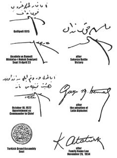 """The signatures of Mustafa Rıza, who reinvented himself as """"Kemal Ataturk"""". Under that name he founded the first Turkish Republic. He eliminated the Turkish alphabet, which was basically Arabic, and had one made up to look European."""