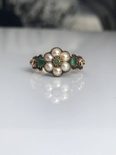 Antique Pearl and Emerald Ring