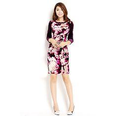 AMC Women's Slim Contrast Color Velvet Dress – USD $ 33.99