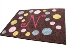 Initial Rug with Polka Dots!