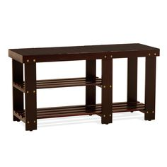 This elegant entryway bench with storage for shoes and boots is crafted of quality solid woods. It is available in espresso and oak finish.