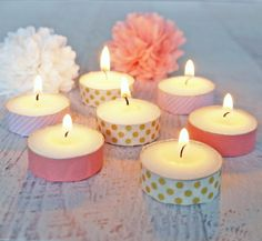 Easy #DIY Washi Tape Tea Light #Candles. Make them for yourself or give a great gift!
