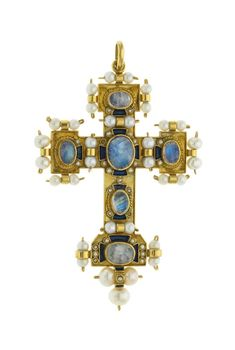 A cross set with cabochon cut labradorites, white pearls, blue enamel, in 18k gold.