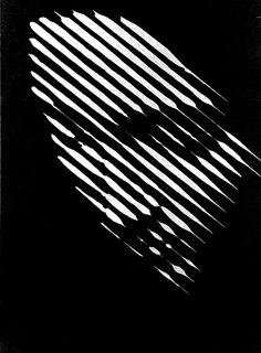 effetto ottico // black with white lines forming an intriguing face - could translate into photography and start a series of this: high contrast shadows with all the shadow patterns i could think of..