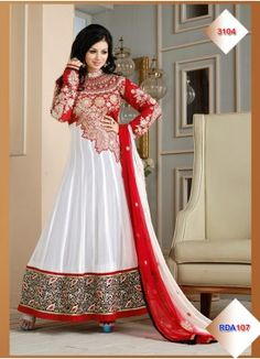 STYLE: Anarkali Suit FABRIC: Net, 60gm Georgette WORK: Embroidered OCCASION: Party, Festival, Bridal, Reception CATALOG NO.: RDA107