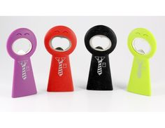 Bottle opener with Attitude  Easy to grip bottle openers with attitude!  Stands on the table top Stand out in your draw   Available in red, black, green and purple.  Note - any color can be dispatched.