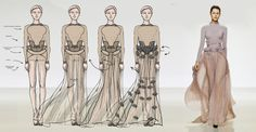 from sketch to runway look by anna miminoshvili, via Behance Fashion Sketches, Fashion Illustrations, Drawing Sketches, Drawings, Woman Drawing, Runway, Costumes, Womens Fashion, Anna