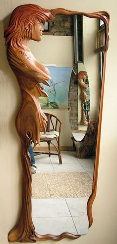 Design Mirror – wood by ayhantomak on DeviantArt - Holz Design Unique Furniture, Wood Furniture, Wood Sculpture, Sculptures, Wood Projects, Woodworking Projects, Wooden Walking Sticks, Wood Framed Mirror, Into The Woods