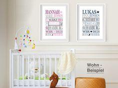 Originaldruck - BIS ZUM MOND Geburtsdruck Junge personalisiert - ein Designerstück von AboukiArtFactory bei DaWanda