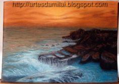 Pôr do Sol Pastel, Painting, Cross Stitch, Pintura, Cake, Painting Art, Paintings, Painted Canvas, Crayon Art