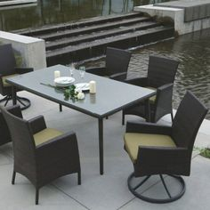 Palm Harbor 7 PC Dining Set with Side Chairs Outdoor Wicker Patio Furniture, Outdoor Dining, Outdoor Decor, Dining Set, Dining Table, Palm, Design, Home Decor, Al Fresco Dinner
