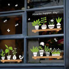 Fresh Bonsai Plant Wall Sticker Coffee Shop Glass Window Mural Decals Art Decor for sale online Decoration Stickers, Butterfly Wall Stickers, Wall Stickers Home Decor, Window Stickers, Wall Decals, Wall Art, Diy Stickers, Wall Mural, Vinyl Decals