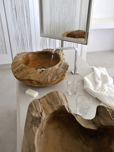 Um hello??? Wooden bowl sinks!!!!!!
