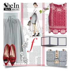 """""""SHEIN contest: Grey High Waist Skirt"""" by prigaut ❤ liked on Polyvore featuring Anja, Forever 21, H&M, Valentino and Chiara Ferragni"""