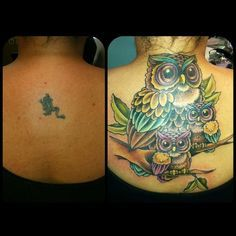 I finally got to finish this lovely little cover up today. The mom owl is… Baby Owl Tattoos, Owl Photos, Neo Trad, Family Tattoos, Baby Owls, Mother And Baby, Tattoo Photos, Hair And Nails, I Tattoo