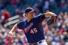 May 4, 2014; Minneapolis, MN, USA; Minnesota Twins starting pitcher Phil Hughes (45) works in the first inning against the Baltimore Orioles at Target Field. Mandatory Credit: Brad Rempel-USA TODAY Sports