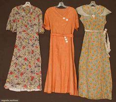 THREE DAY DRESSES, 1930s 2 cotton print & 1 cinnamon linen