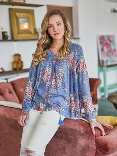 Spring is all about florals and this top couldnt be more perfect. The baby blue and blushing blooms on this peasant top add a feminine flair to your look.  Altar'd State English Rose Top - Apparel