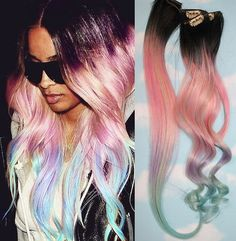 Light Pastel Dip Dyed Hair, Clip In Hair Extensions, Tie Dye Tips, Black Hair, Hair Wefts, Human Hair Extensions, Hippie hair, Pink Hair via Etsy