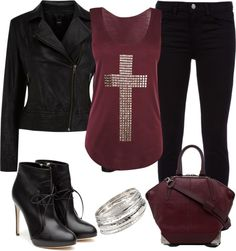 Rocker Chic - Burgundy and Black Pretty Outfits, Stylish Outfits, Cute Outfits, Fashion Outfits, Diy Fashion, Rocker Style, Rocker Chic, Fall Fashion 2016, Autumn Fashion