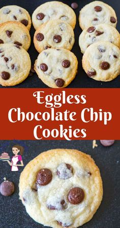These Eggless chocolate chip cookies are an absolute treat. Soft chewy on the inside with a light tender crisp on the out. This simple, easy and effortless recipe will have you making these almost every week. A great snack or even served with ice cream as Eggless Chocolate Chip Cookie Recipe, Eggless Cookie Recipes, Eggless Desserts, Soft Chocolate Chip Cookies, Eggless Baking, Best Cookie Recipes, Chocolate Recipes, Delicious Desserts, Bar Recipes