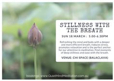 Sharing my passion for meditation with three mini-workshops at the beautiful new Chi Space in Balaclava (Melbourne, Australia). Everyone should know how to find stillness with their breath.