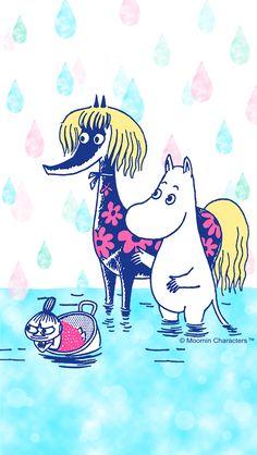 Moomin Wallpaper, Marimekko Wallpaper, Pattern Wallpaper, Cute Characters, Cartoon Characters, Cute Wallpapers, Wallpaper Backgrounds, Little My Moomin, Les Moomins