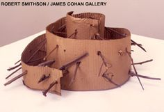 "PIERCED SPIRAL  1973  cardboard, spiral with sticks  10"" x 20"" dia  Collection: IVAM, Center Julia Gonzalez, Valencia Robert Smithson, Spirals, Abstract Sculpture, Treehouse, Valencia, Sticks, Wrapping, Building, Collection"