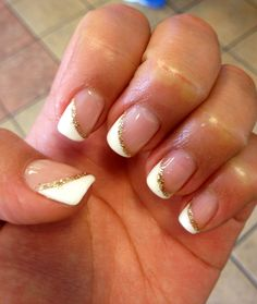 My beautiful angled french tip Wedding Nails!