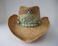 Cowboy Hat! Country Western Straw Cowboy Hat with Turquoise Jewels