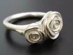 White Rose Stirling Silver Ring